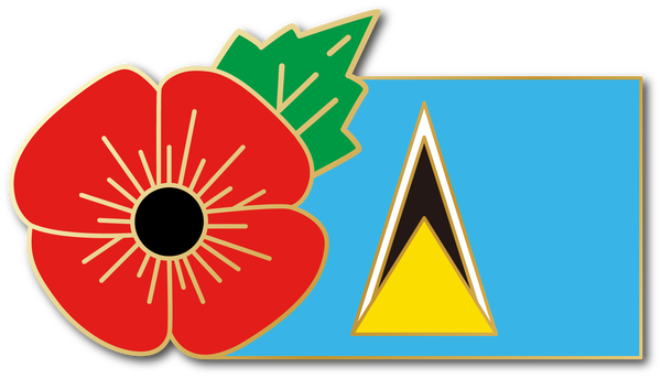 Image of ST. LUCIA FMN Poppy/Flag Combo Medal (28mm x 15.5mm)