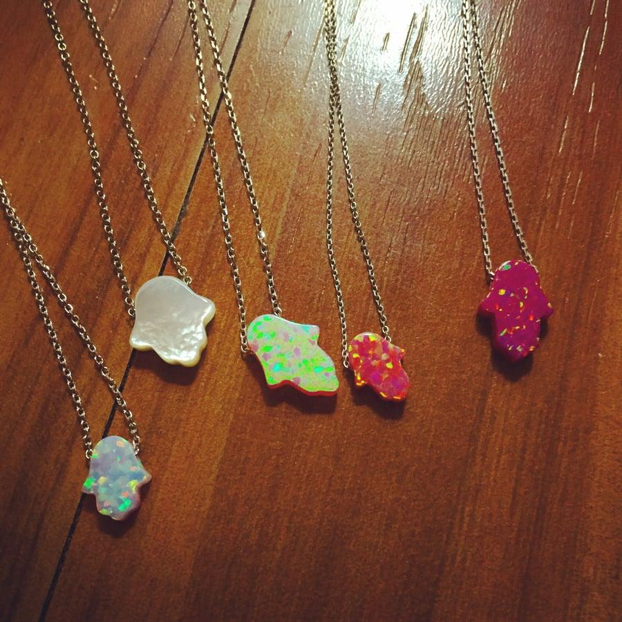 Image of Opal hamsa necklaces