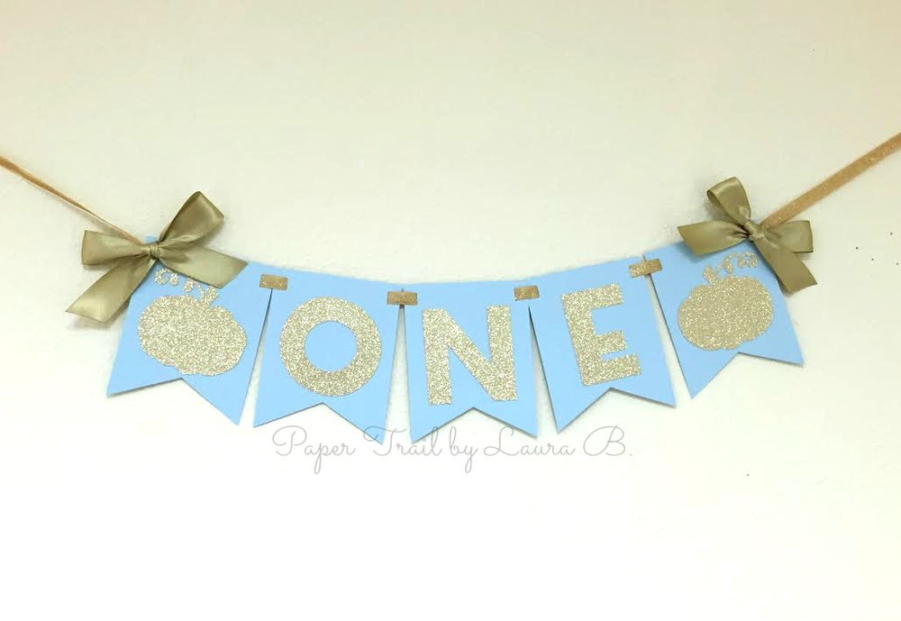 Image Of Little Pumpkin High Chair Banner In Light Blue Gold 1st Birthday Decorations