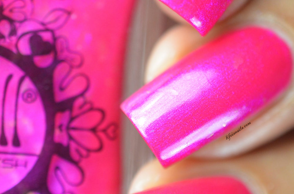 Pink on Our Backs~ hot magenta pink shimmer w/iridescent flakes nail ...