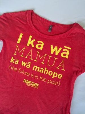 Image of Women's I ka wā shirt (red/yellow)