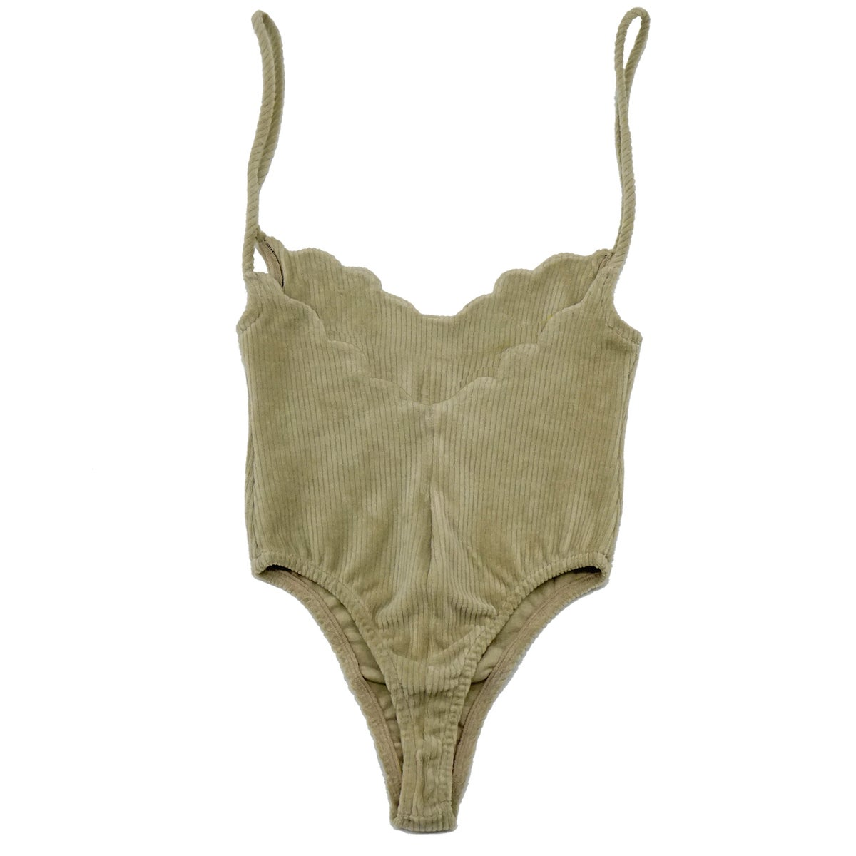 70'S SCALLOP BODYSUIT- BALANCED BEIGE
