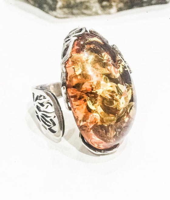 Image of Amber 925 Silver Adjustable Ring