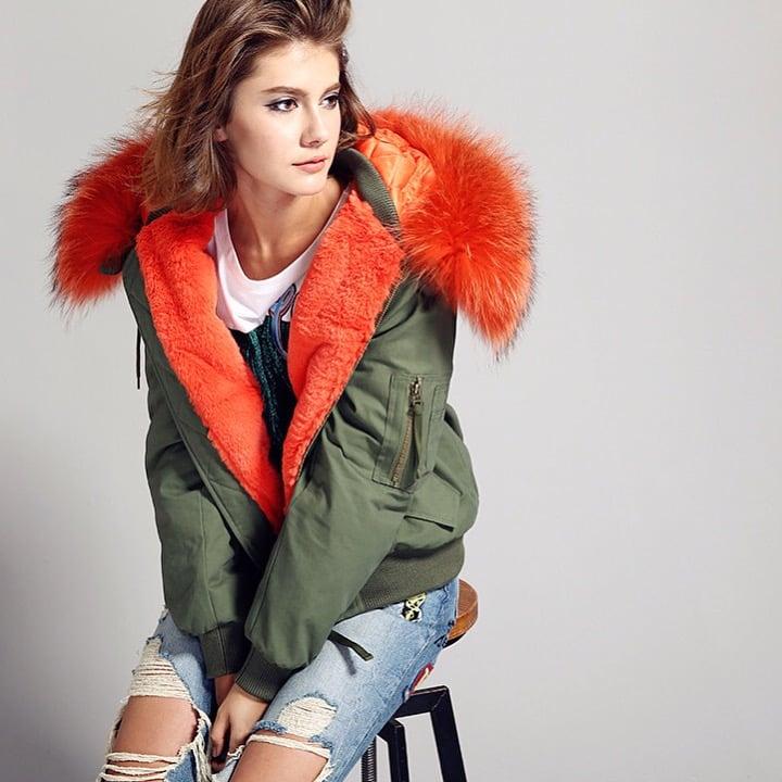 Image of Bomber Jacket w/ Real Fur Hood