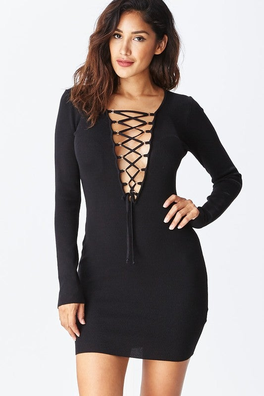 Image of Lace Up Bodycon