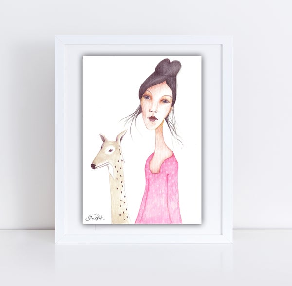 Image of A Girl and her deer PRINT