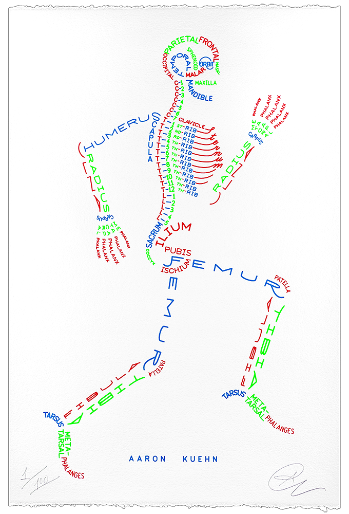 Image of Skeleton Typogram - 3-color Print
