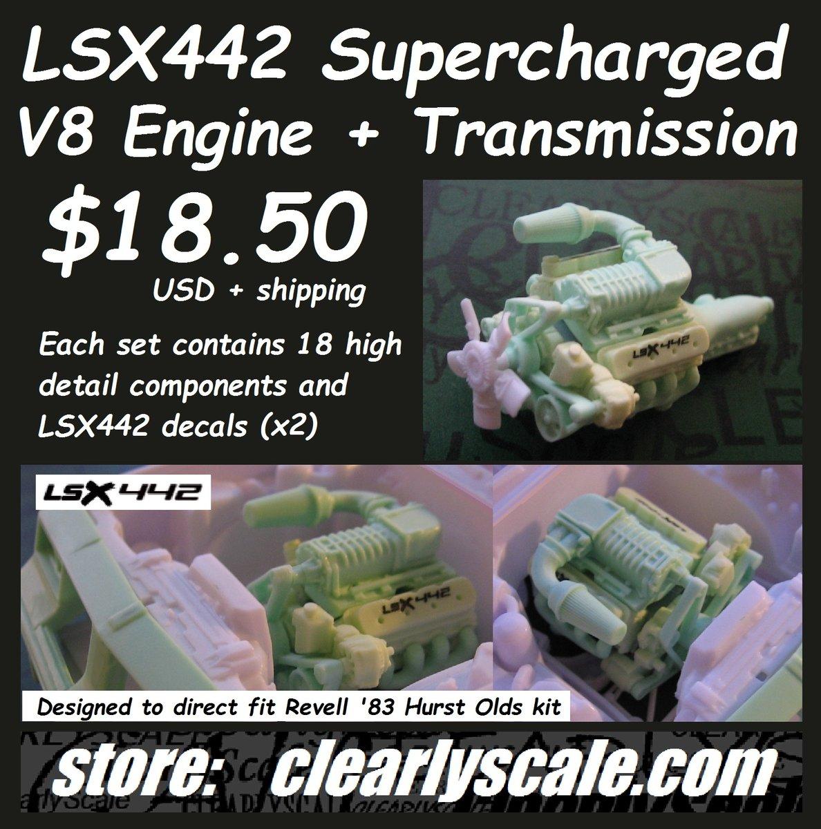 Oldsmobile Supercharger Kits: LSX442 Supercharged V8 Engine Set (for Revell '83 Hurst
