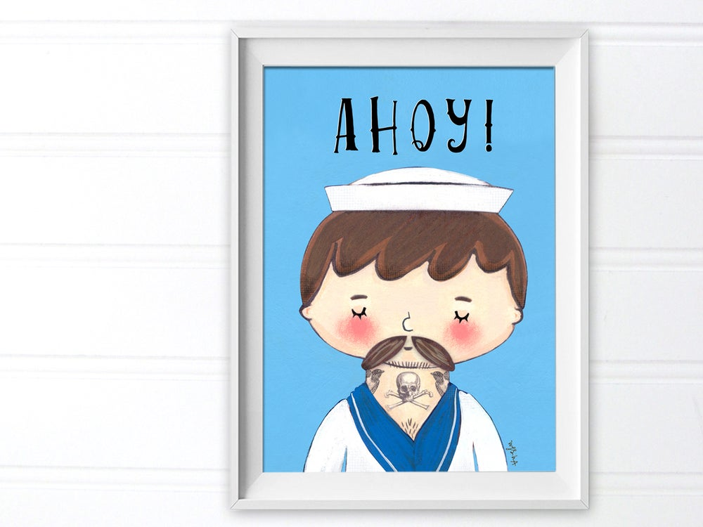 Image of Ahoy! Tattooed Sailor Art Print