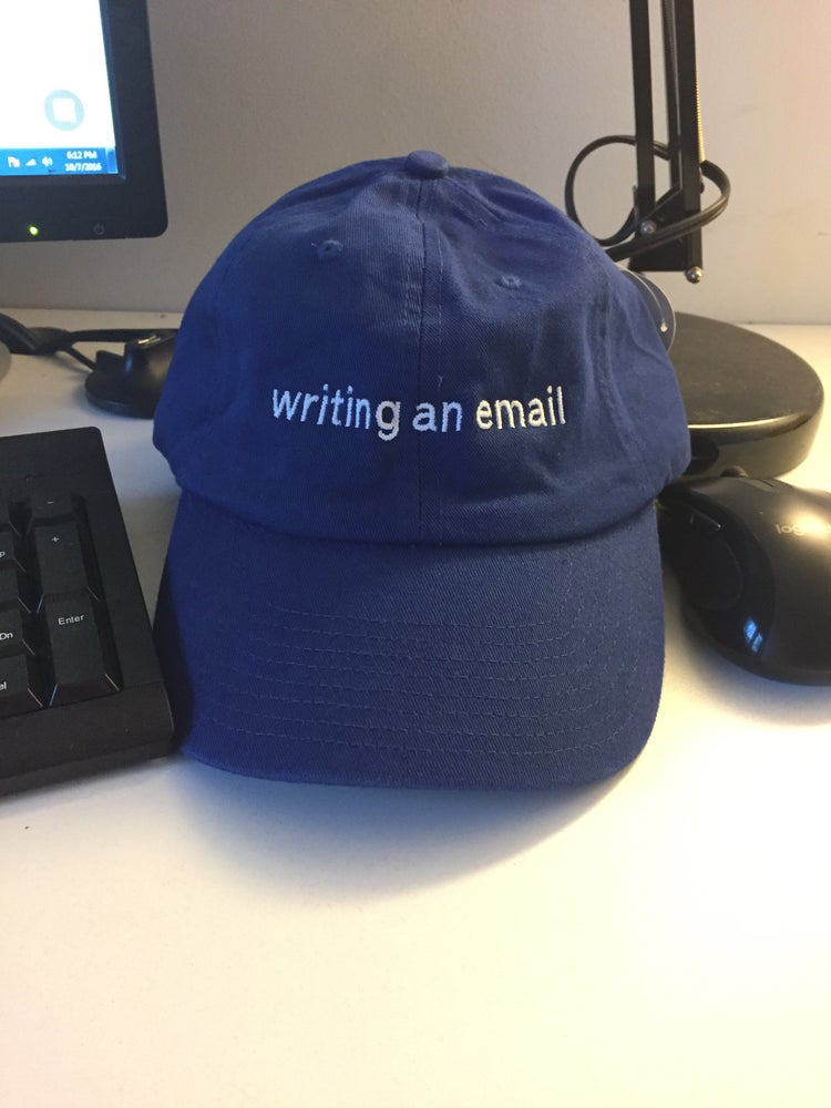 Image of WRITING AN EMAIL HAT - collaboration with Pete Halupka
