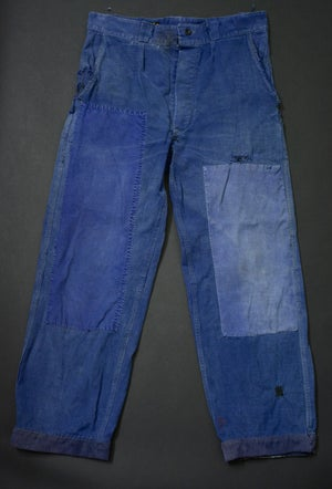 Image of 1950'S FRENCH INDIGO PANTS FADED PATCHED 1  フレンチパッチワークワークパンツ