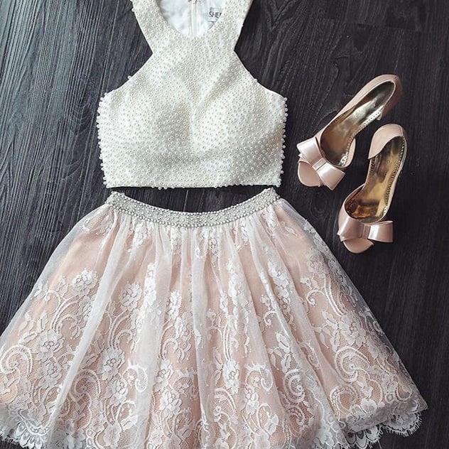 lace white short dresses