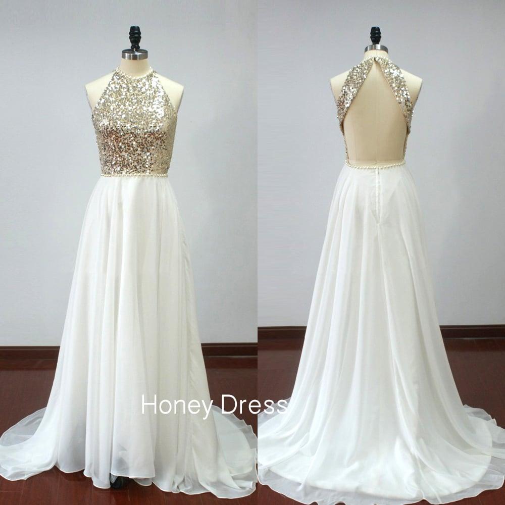 Honey Dress — White Chiffon A-line Beaded Prom Dress 686e42962