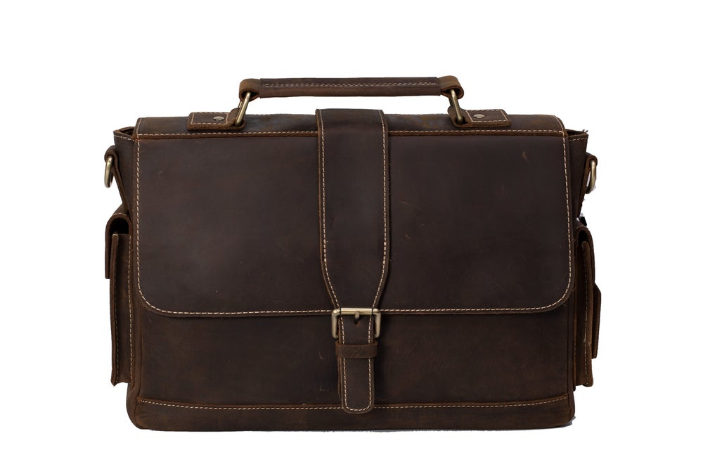 Image of Handmade Genuine Natural Leather Briefcase, Men's Messenger Bag, Shoulder Bag 0166