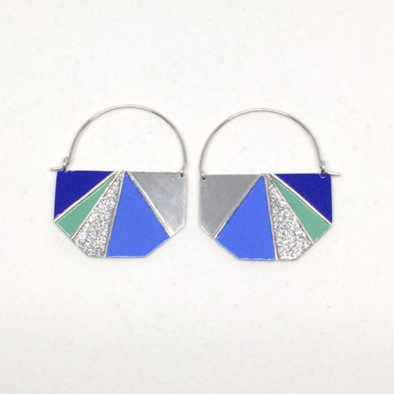 Image of Divided Half Hexagon Earrings - Cool Glitter