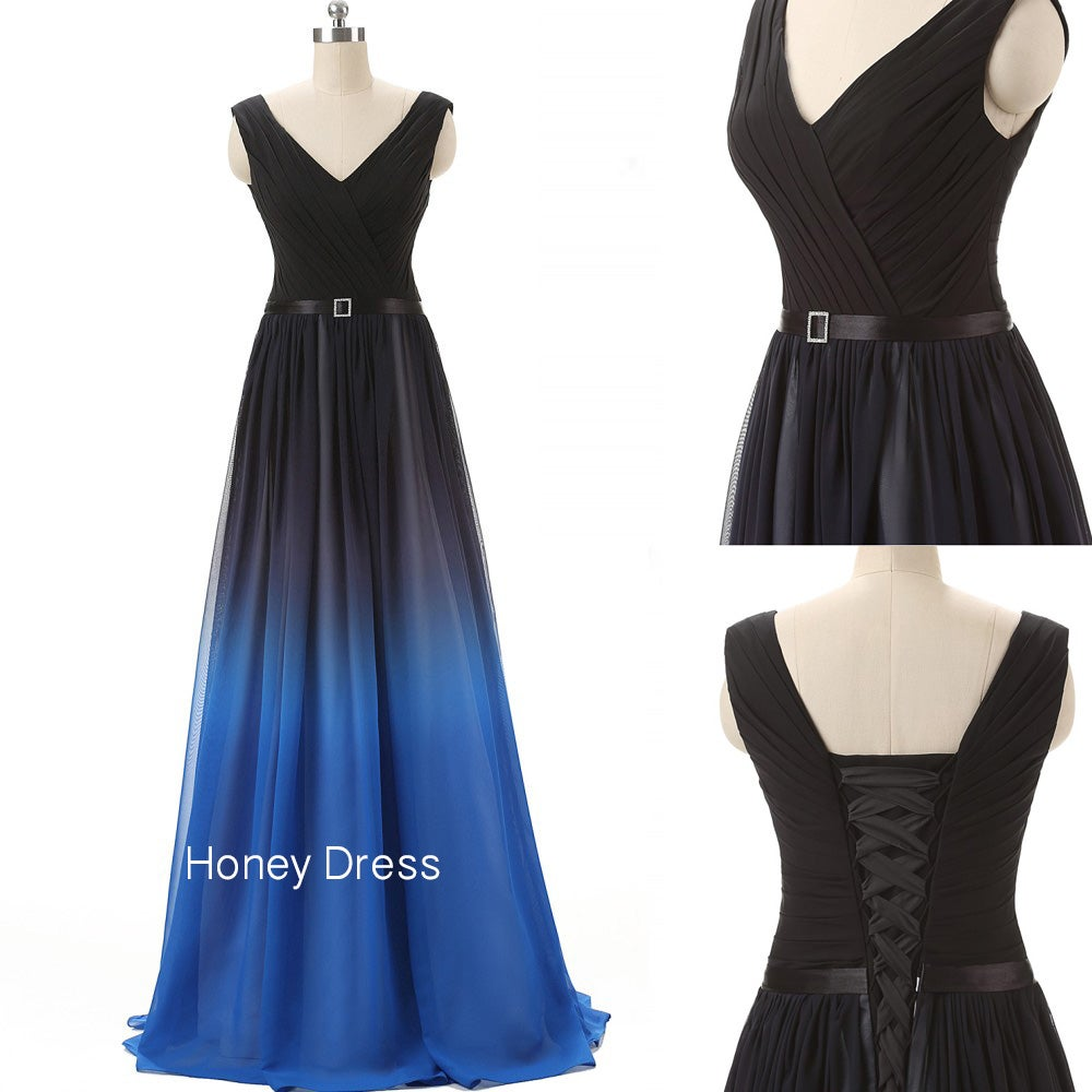 Image of Chiffon V-Neck Prom Dress,Black Blue Gradient Pleats Ruching Prom Gown With Sash