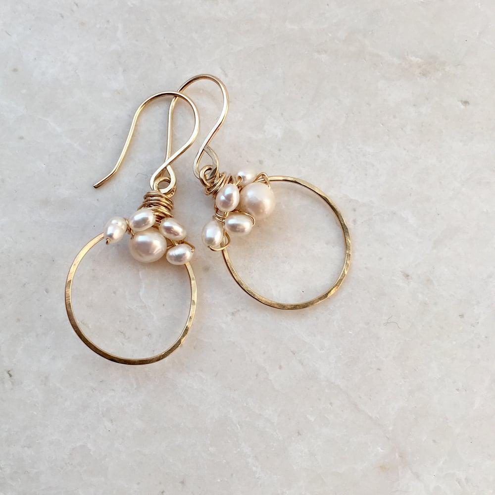 Image of Freshwater pearl gold hoop earrings