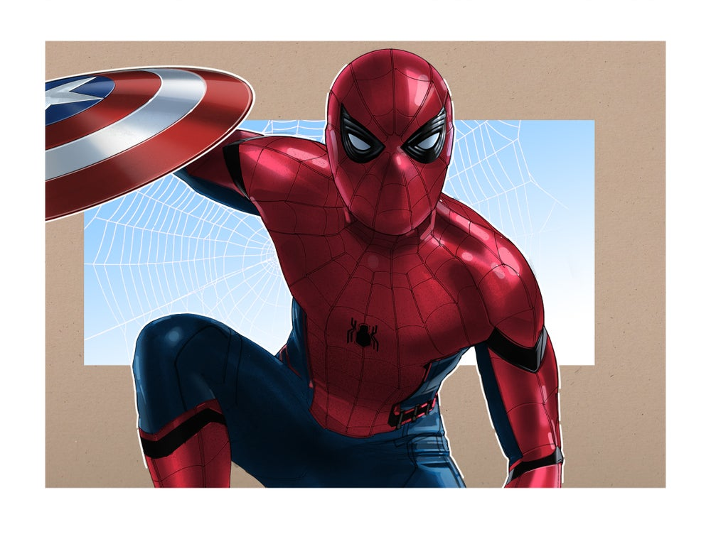 """Image of SpiderMan: 8 1/2"""" x 11"""" OPEN EDITION COLLECTIBLE Giclée PRINT"""