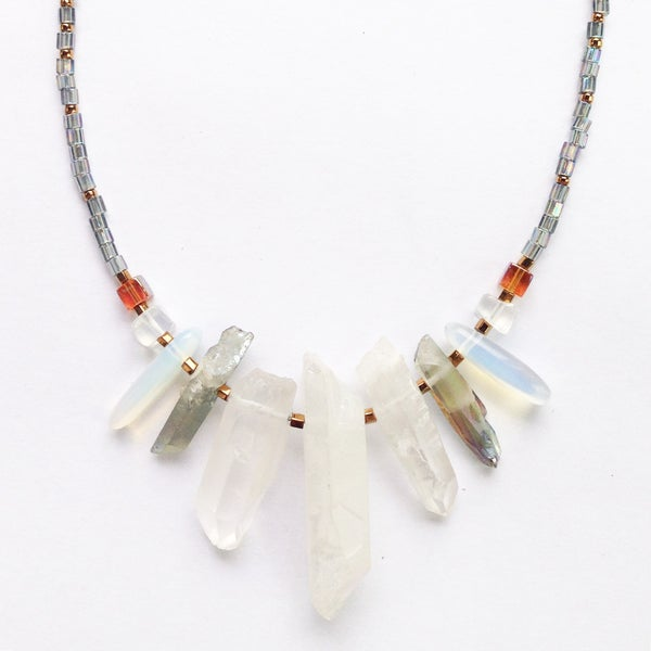 Image of Elise Necklace - with natural and plated Quartz Crystal - one of a kind