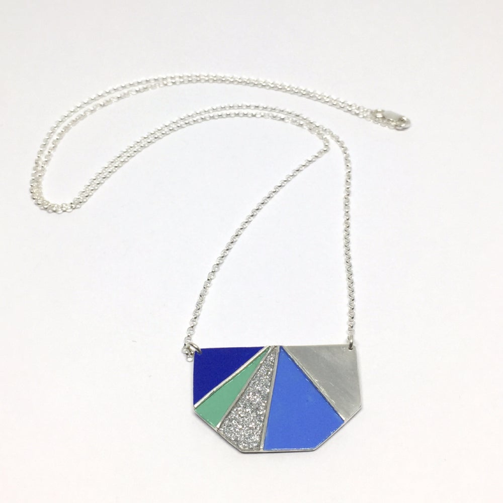 Image of Divided Half Hexagon Necklace - Cool Glitter