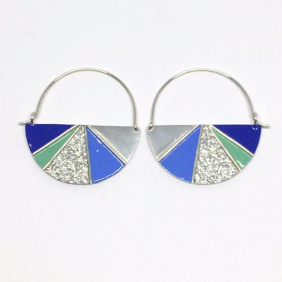 Image of Divided Half Round Earrings - Cool Glitter