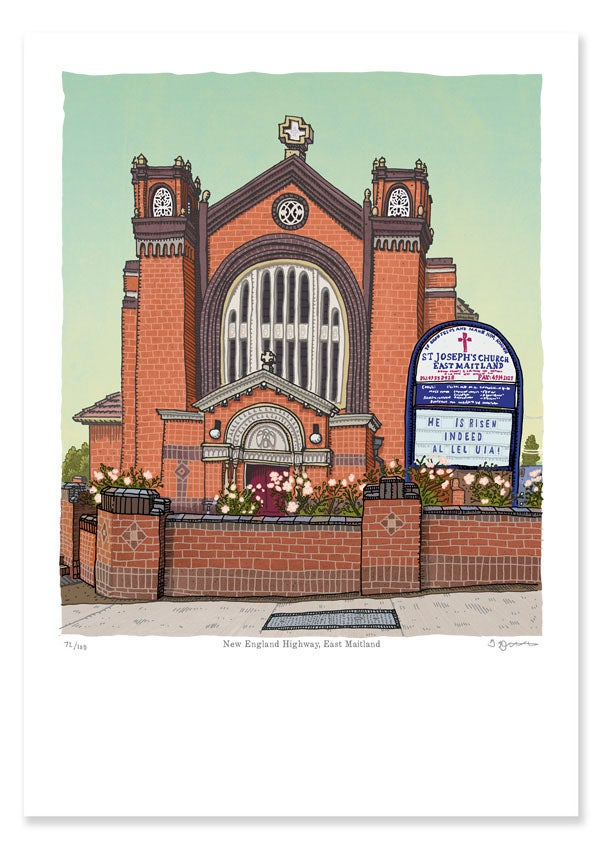 Image of St Joseph's Church, East Maitland, digital print