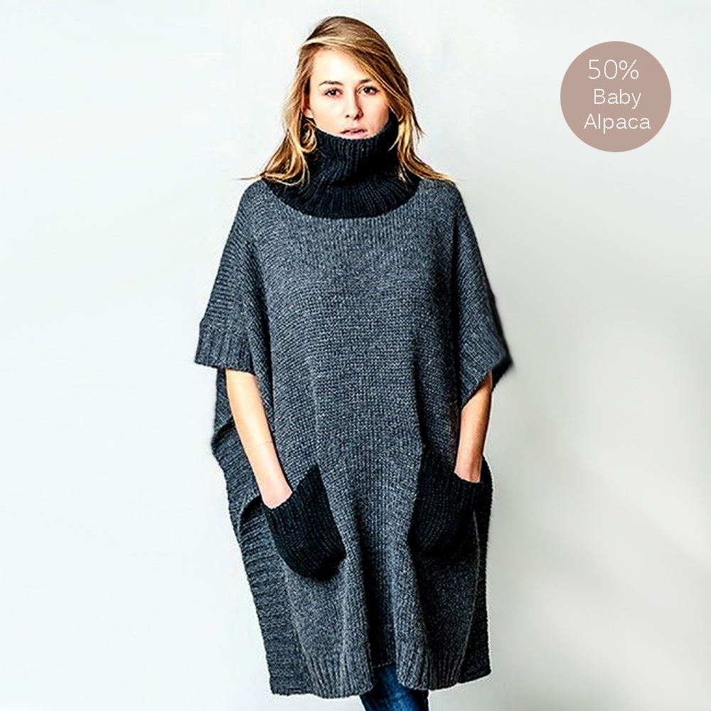 Image of OVERSIZE Alpaca Wool Poncho with Pockets