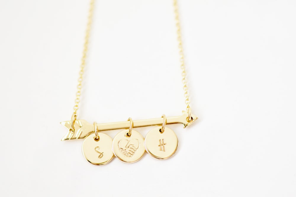 Image of Personalized Gold Arrow Initial Necklace - Personalized Arrow Necklace - Couple's Necklace