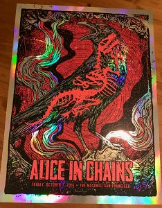 Image of Alice In Chains 2016 Poster Rainbow Foil Variant