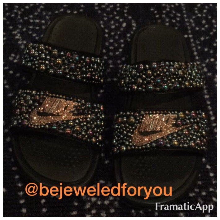 5382de9f7d403 Custom Nike Black Duo Slides with Gold Swarovski Crystals and Two Tone  Black Pearls