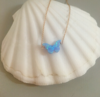 Image of Opal Butterfly Necklace