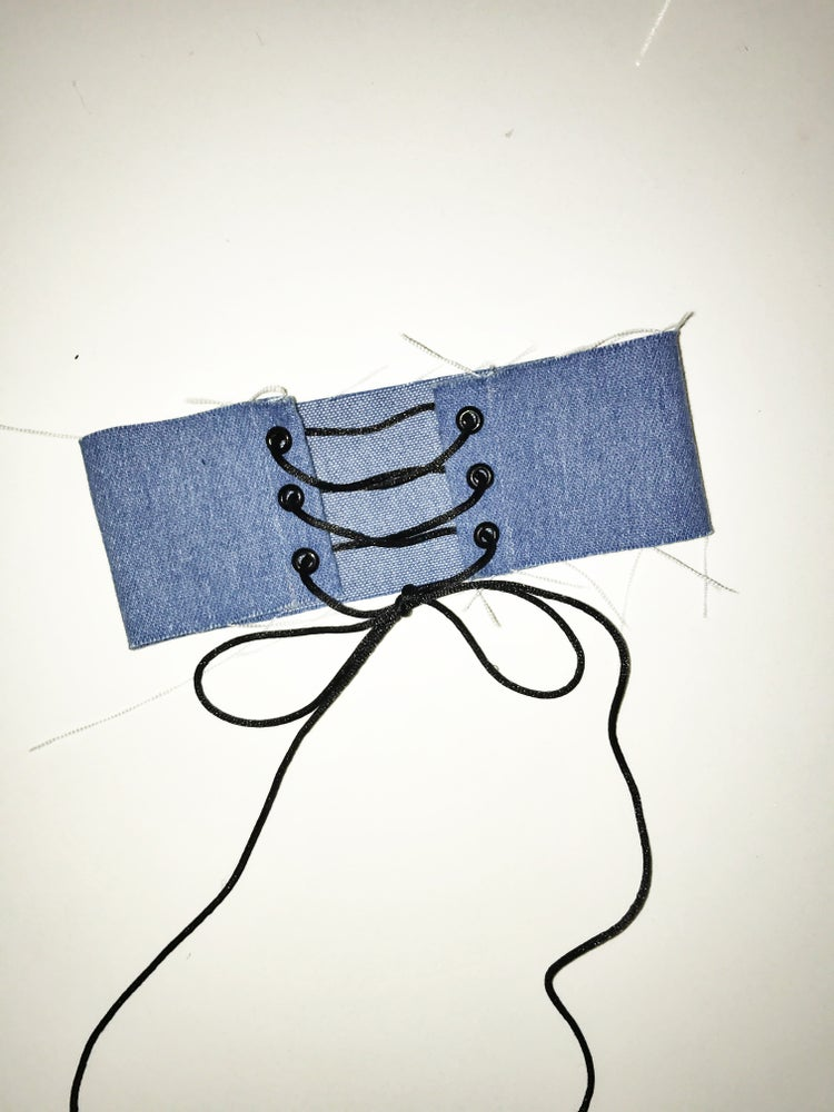 Image of Frayed Lace Up Jean Choker [light or dark blue]