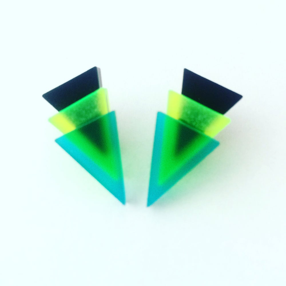 Image of Náušnice / Earrings Mini 3Tria Black/Green/Tuqoise