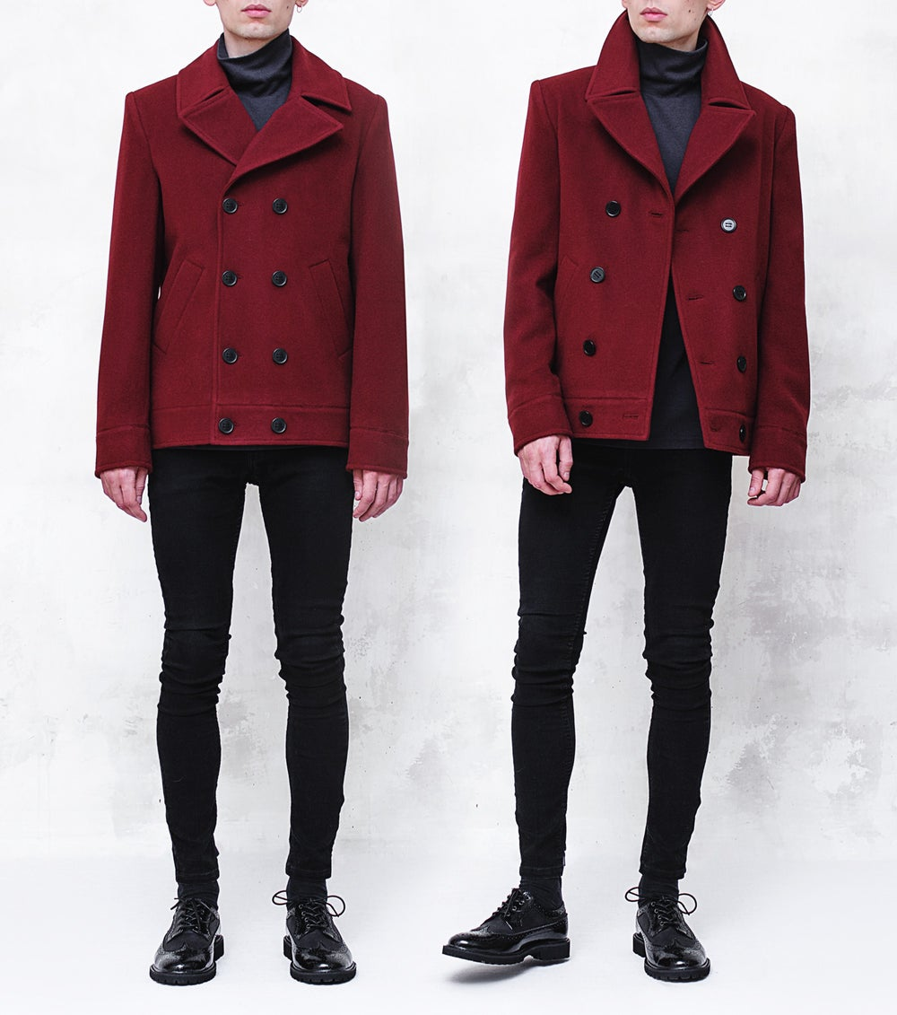 Image of LORCAN | Maroon Wool-Cashmere Pea Coat