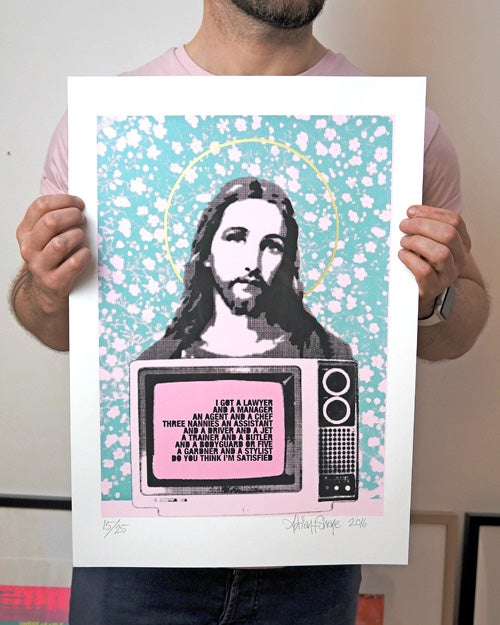 Image of Jesus TV Print