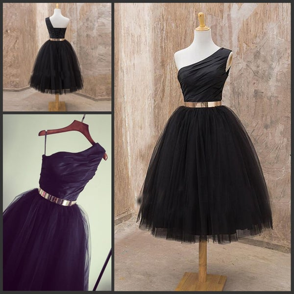 Image of Black Tulle One-Shoulder Mid-Calf Short Dress, A-Line Sash Ruche Prom Dress With Lace-up Back