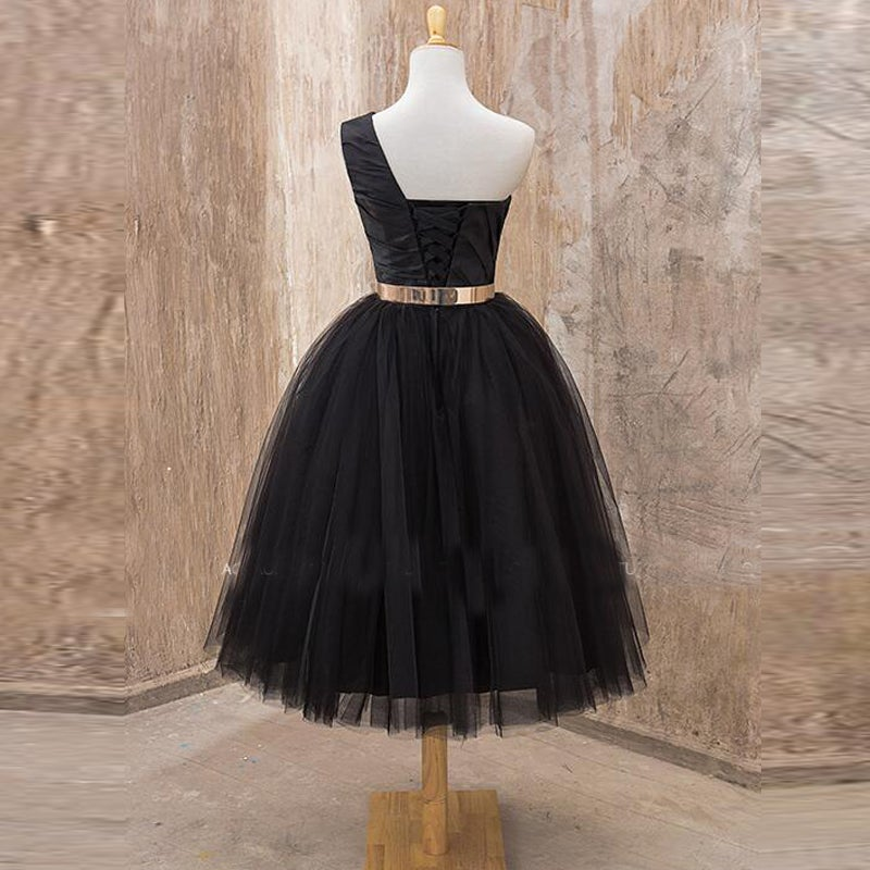 1913d606c1e Honey Dress — Black Tulle One-Shoulder Mid-Calf Short Dress