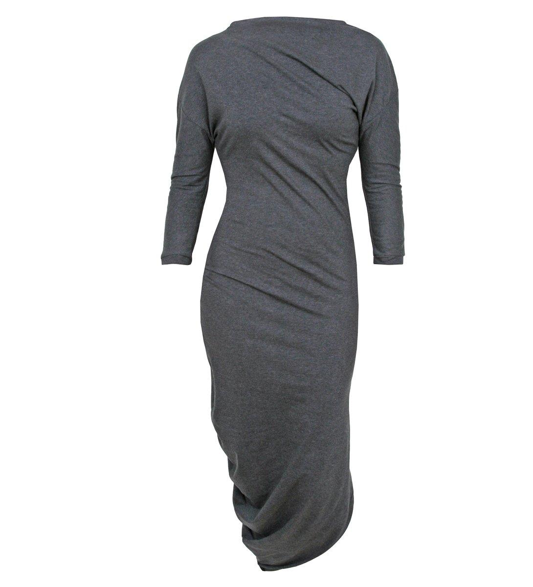 Kleid asymmetrisch - anthrazit meliert