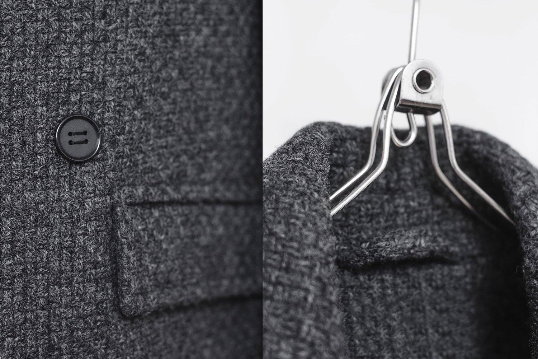 Image of BJORNE | Dark Gray Textured Boiled Wool Overcoat