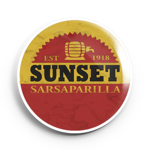 Image of 2.25 inch Sunset Sarsaparilla Button/Magnet/Bottle Opener/Compact Mirror