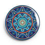 Image of 2.25 inch Blue Mandala Button/Magnet/Bottle Opener/Compact Mirror
