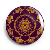 Image of 2.25 inch Gold and Purple Mandala Button/Magnet/Bottle Opener/Compact Mirror