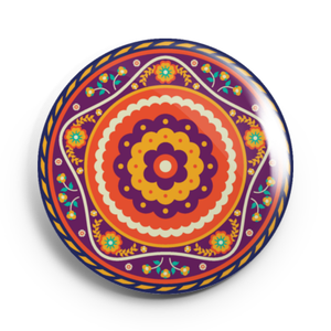 Image of 2.25 inch Orange Mandala Button/Magnet/Bottle Opener/Compact Mirror