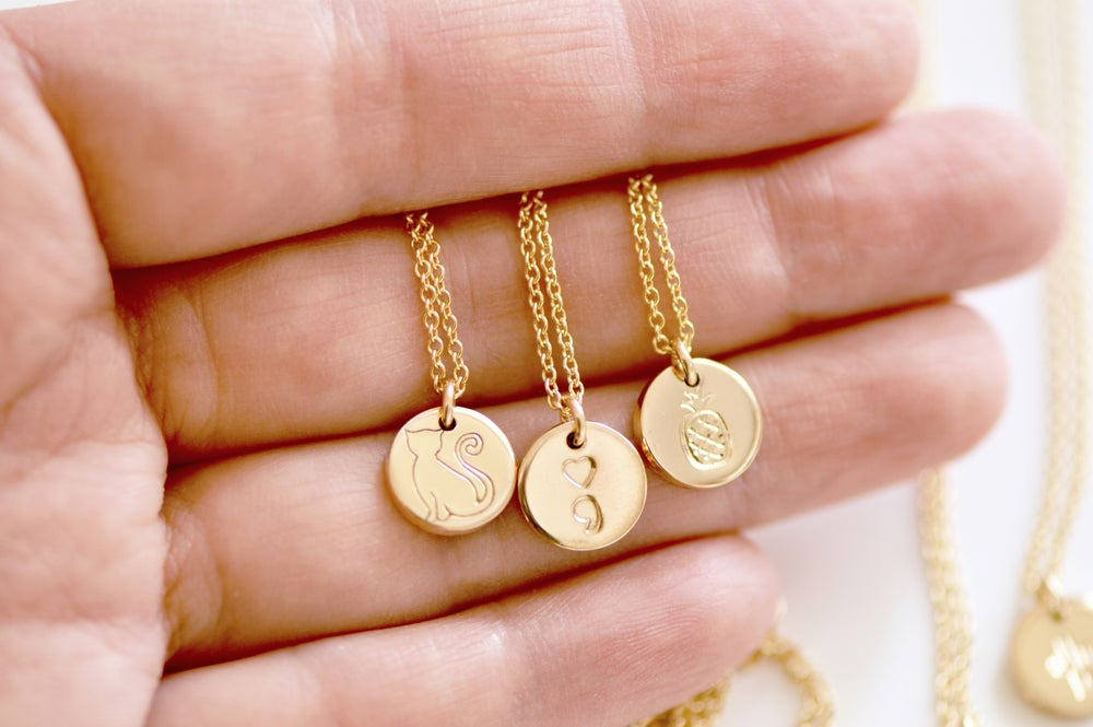 Image of Personalize Mini Disc Necklace - Minimal Gold or Sterling Silver Charm Necklace