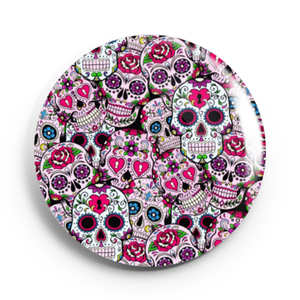 Image of 2.25 inch Pink Multiple Sugar Skull Button/Magnet/Bottle Opener/Compact Mirror