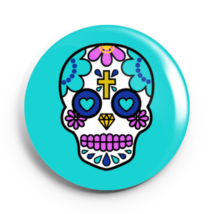 Image of 2.25 inch Blue Sugar Skull Button/Magnet/Bottle Opener/Compact Mirror