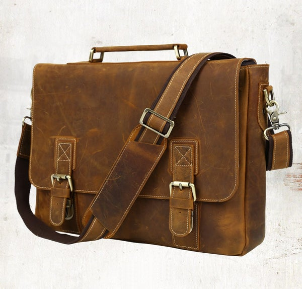 "Image of Men's Handmade Vintage Leather Briefcase / Messenger / 15"" MacBook Pro 15"" 16"" Laptop Bag (n14L-2)"