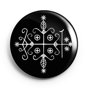 Image of 2.25 inch Papa Legba Veve Button/Magnet/Bottle Opener/Compact Mirror