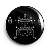 Image of 2.25 inch Baron Samedi Veve Button/Magnet/Bottle Opener/Compact Mirror