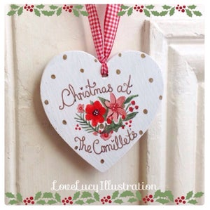 Image of Personalised Christmas Floral Heart Decoration